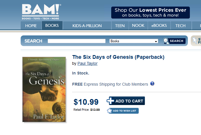 Six Days of Genesis at Books-A-Million